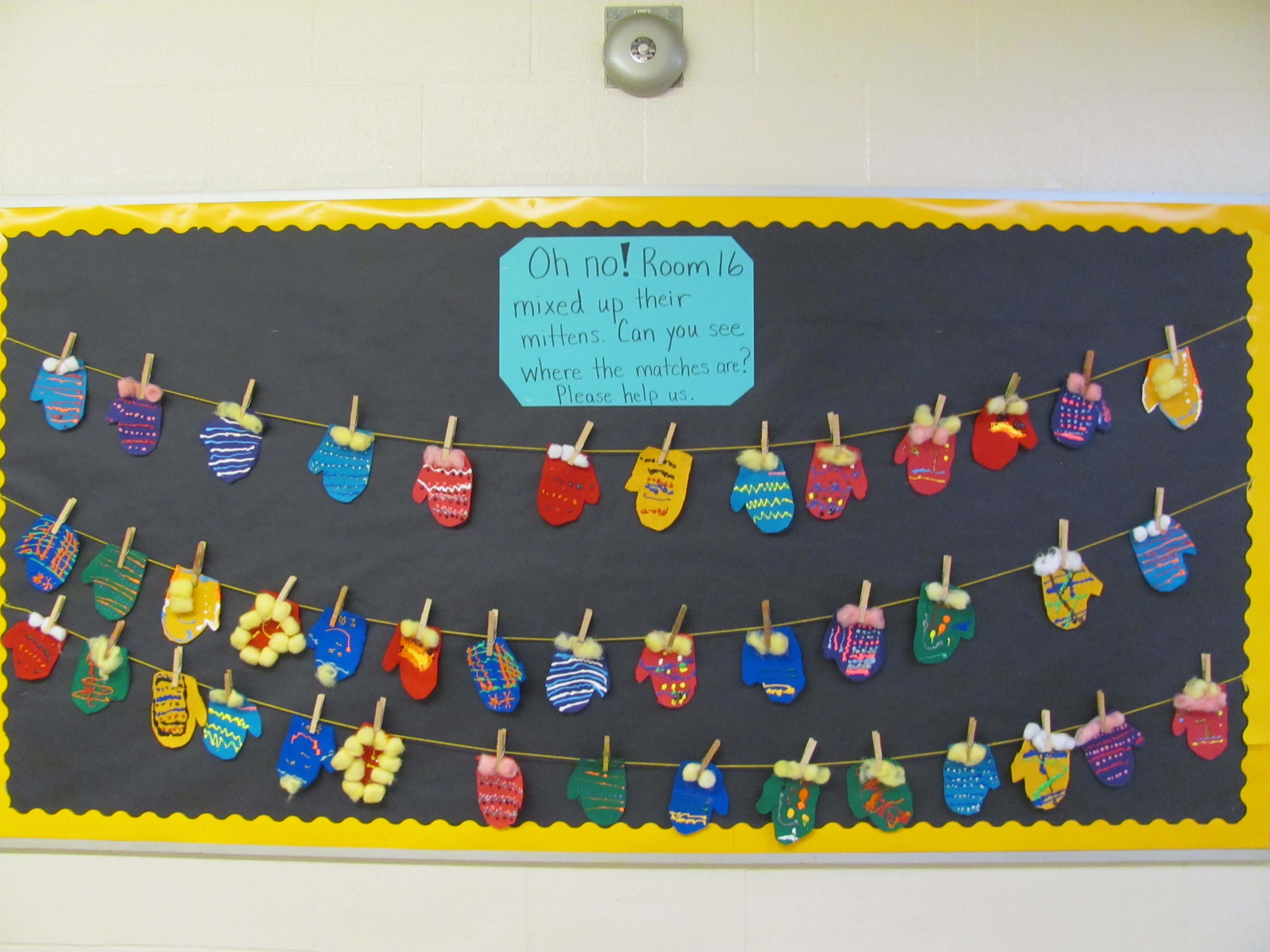 Find The Matching Mitten Interactive Bulletin Board With