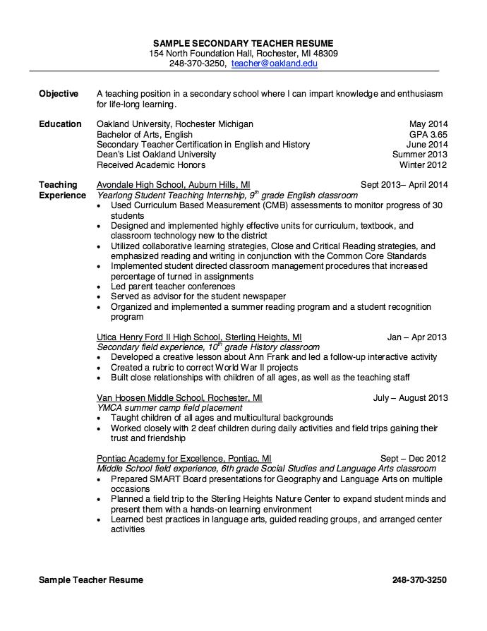 Sample Secondary Teacher Resume Examples Resume Cv