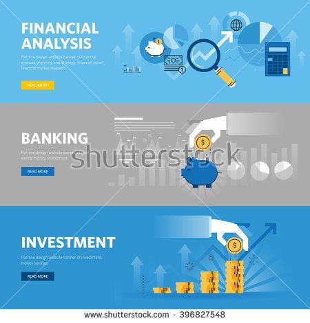 Set of flat line design web banners for banking and finance - investment analysis