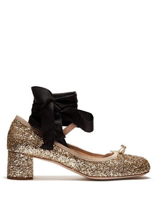 d2ac310aaf57 MIU MIU Glitter block-heel ballet pumps.  miumiu  shoes  pumps