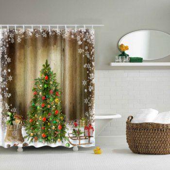 Thicken Merry Christmas Bathroom Waterproof Shower Curtain
