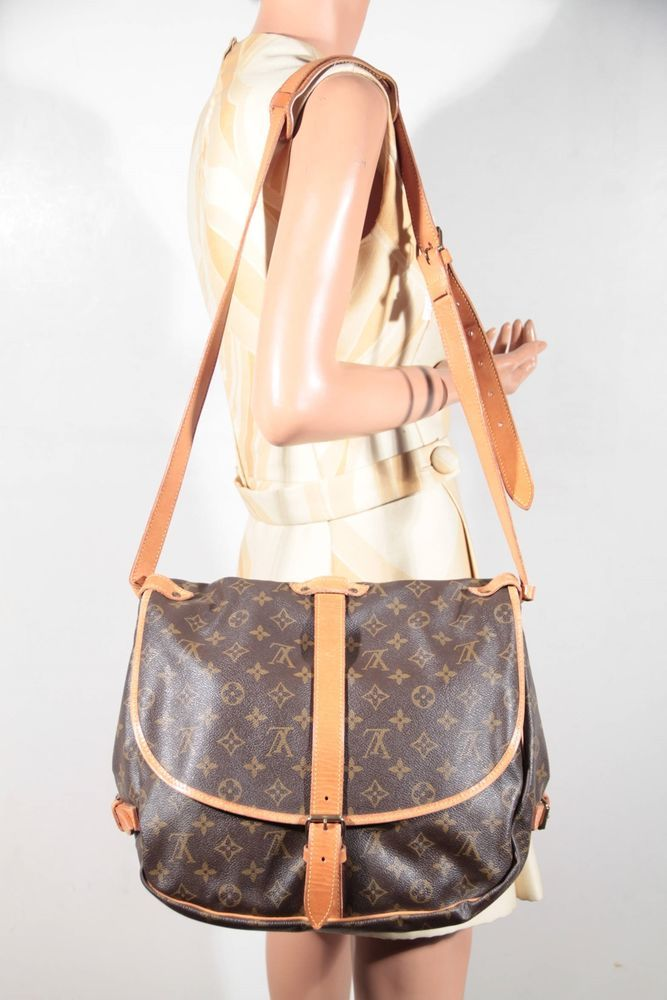 7dd6a7768029 LOUIS VUITTON Brown Monogram Canvas SAUMUR 35 MESSENGER Shoulder Bag RARE   LouisVuitton  ShoulderBag