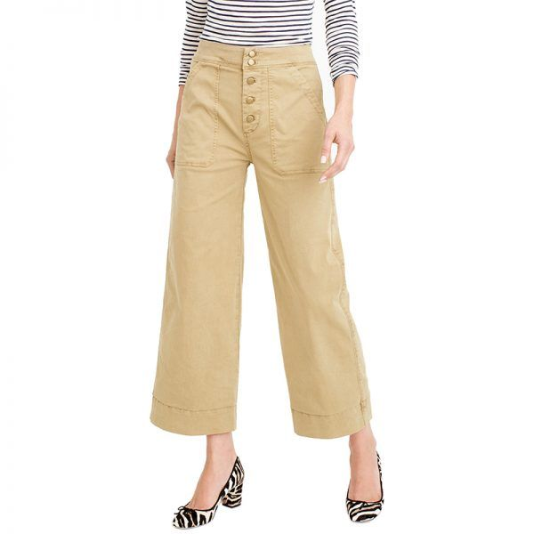 - If you're tired of your leggings and jeans, try a wide-leg trouser silhouette styled with knee-high boots and a chunky sweater.J.Crew Wide-Leg Cropped Chino Pant, $90