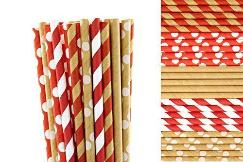 Christmas Kraft Paper Straws Mix - Red, White and Kraft - Stripes and Polka Dots (50) Creative Juice Cafe http://www.amazon.com/dp/B014UZ41I2/ref=cm_sw_r_pi_dp_kzWmwb0TSDVA3