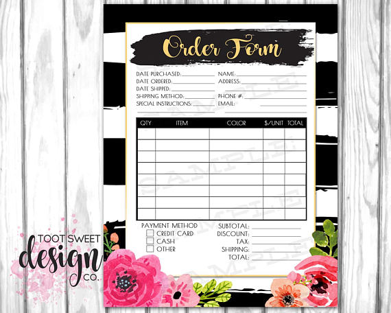 Customer DIY Order Form, Printable Order Form for Small Business - best of formal business invitation card