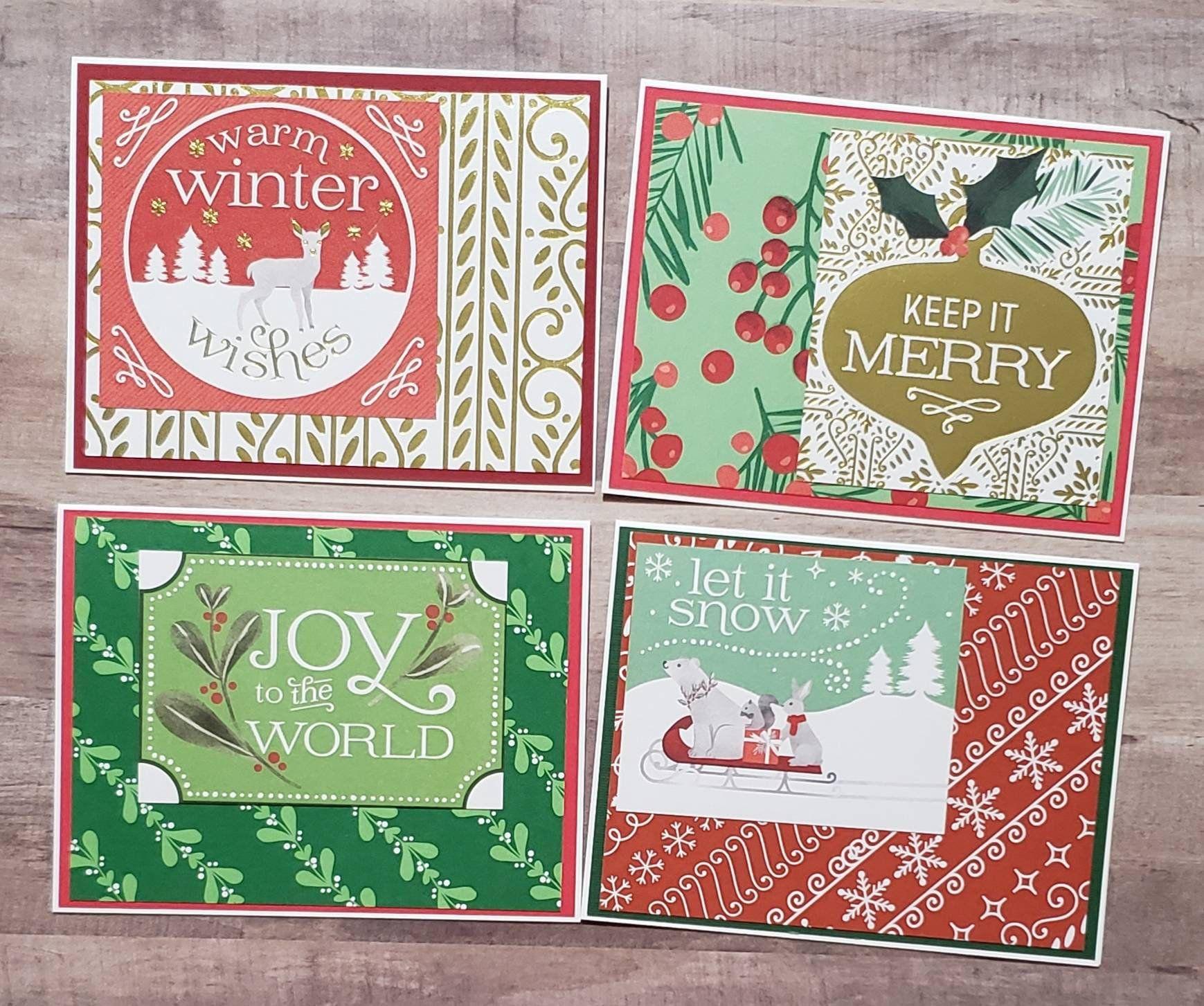4 Homemade Christmas Cards Handcrafted Xmas Card Set Handmade