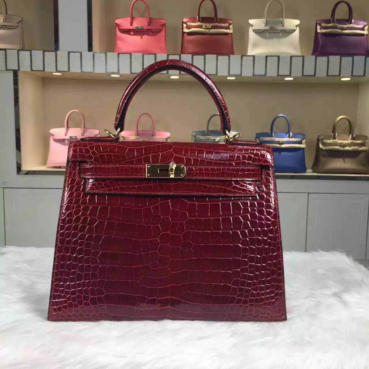 5574f2e6e203 Brand  Hermes  Style  Kelly Bag 28CM   Material  Crocodile Shiny  Leather Color  New Wine Red  Hardware  gold silver  Accessories  Padlock and  keys