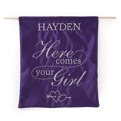 """Personalized Heart and Arrow """"Here Comes Your Girl"""" Sign in Purple"""