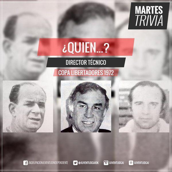 #MartesTrivia! ¿Quién fue el DT durante la #CopaLibertadores de 1972?  Responder: https://goo.gl/XTmiiq