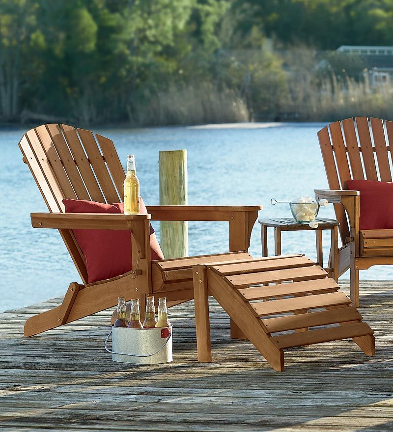 All Weather Wooden Adirondack Folding Chair, Ottoman And Side Table U2013 In  Natural Eucalyptus