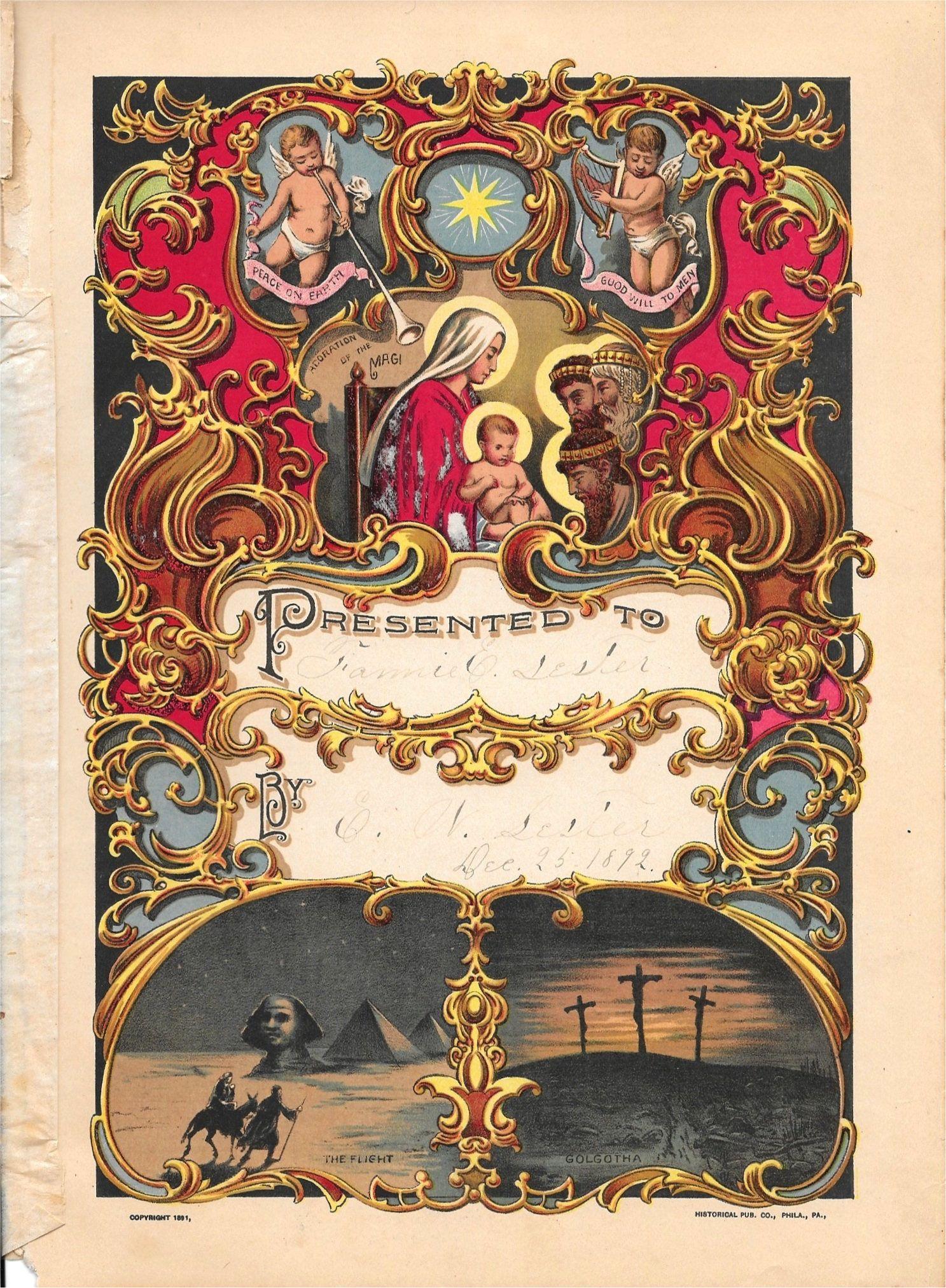Antique Print 1891 Presentation Page Christian Prints