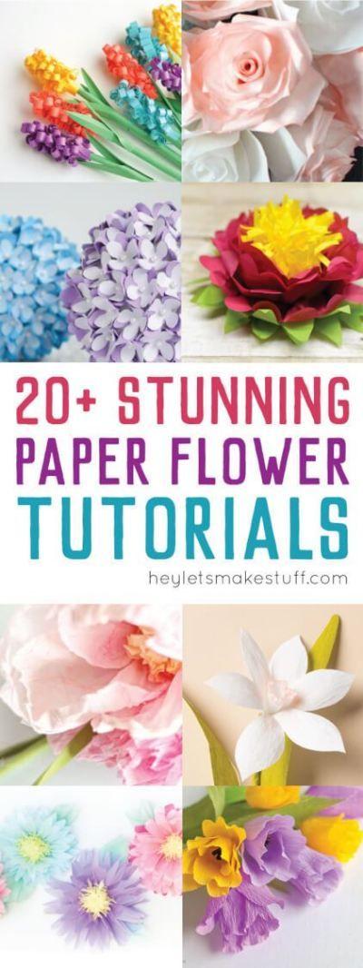 20+ Stunning Paper Flower Tutorials