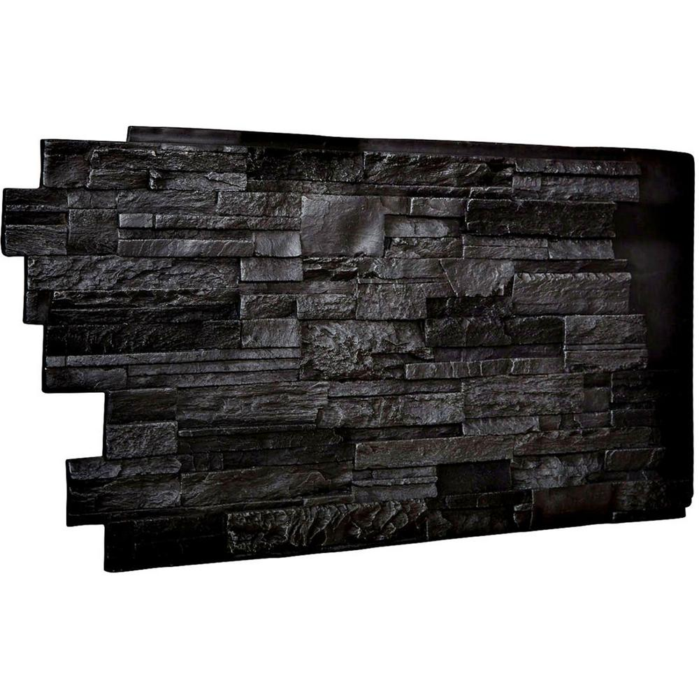 Ekena Millwork 1 1 2 In X 48 In X 25 In Graphite Urethane Dry Stack Stone Wall Panel Pn201nrgp Faux Stone Panels Stone Wall Panels Stacked Stone Walls