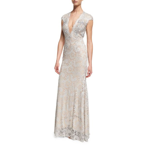 7e6abfa45b Jovani Cap-Sleeve Plunging V-Neck Embellished Lace Gown ( 870) ❤ liked on Polyvore  featuring dresses