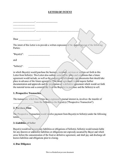 Printable Sample Letter Intent Template Form