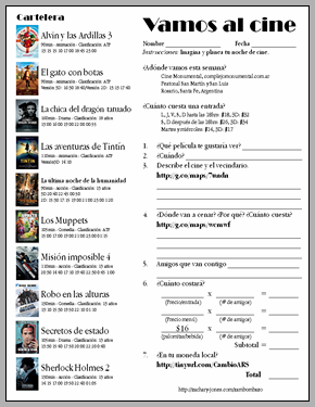 Al Cine Wow I M Pinning So Many Spanish Teaching Ideas Can T Wait For School To Sta Teaching Spanish Spanish Classroom Activities Spanish Teaching Resources