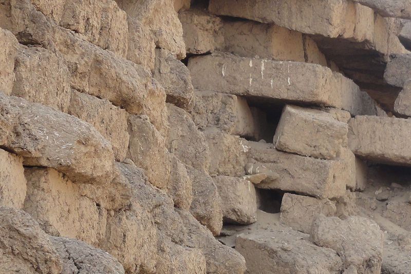 Close up of the mudbricks in the Amenemhet III pyramid at Hawara. It is possible to make out the straw within the mud bricks.