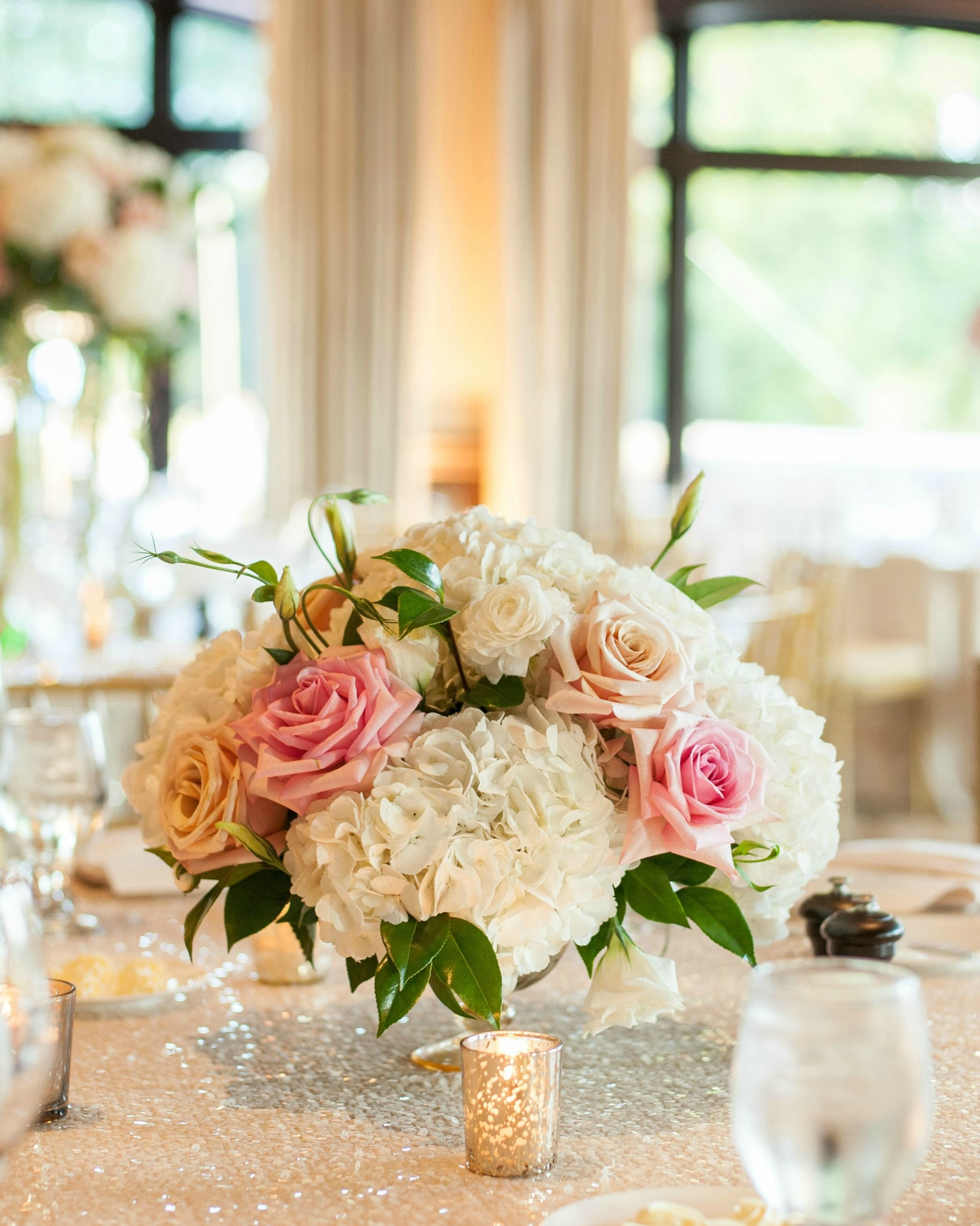 A Blush Wedding Rose And Hydrangea Flowers For Centerpieces Gold Decor Accents
