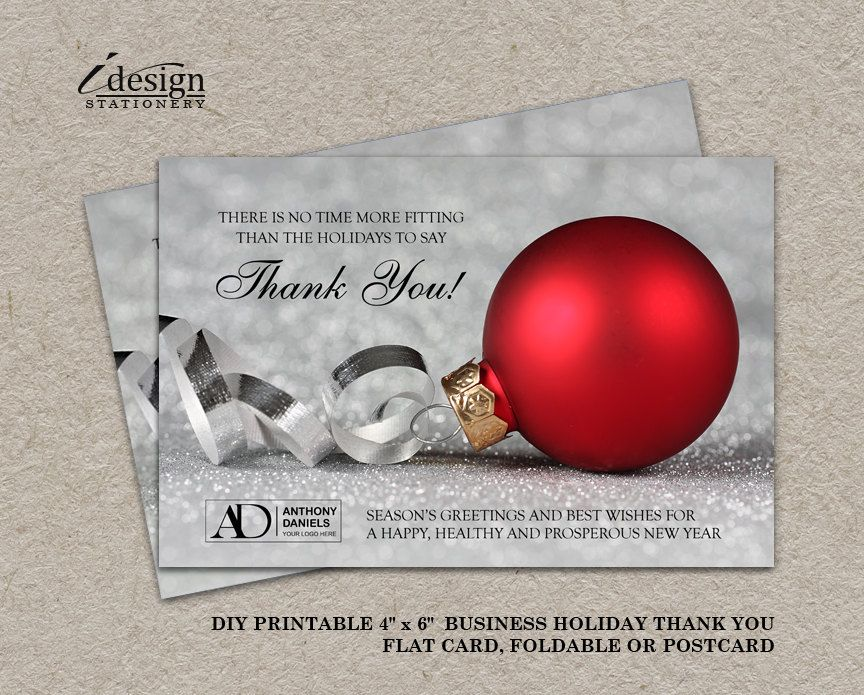 Business Christmas Thank You Cards With Logo, Personalized