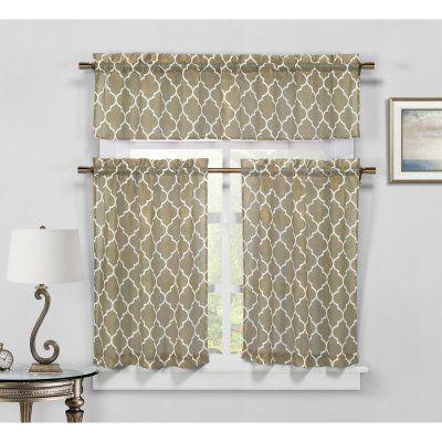 Duck River Geo Faux Linen 3 Piece Kitchen Curtain Set Taupe - GEKTP=12 /12125