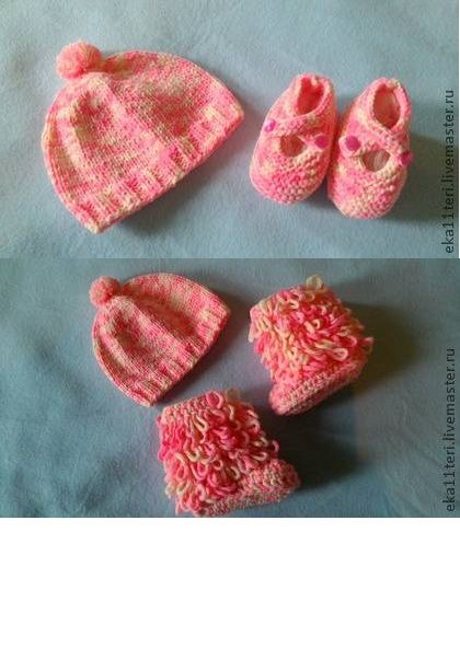Hat and booties for the baby. Color is well suited for both girls and boys. Baby boots separately.