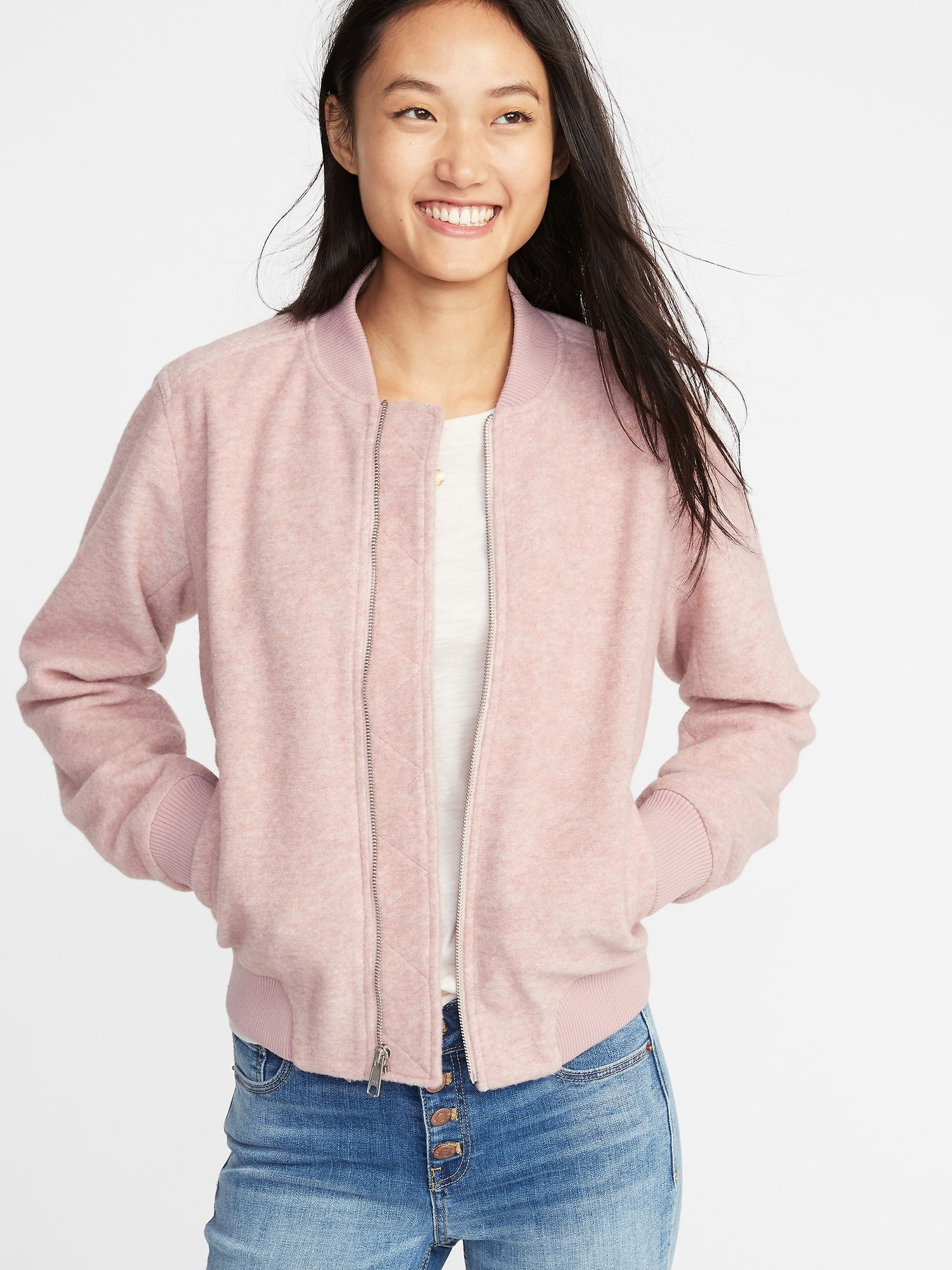 Textured Jacquard Zip Bomber Jacket For Women Old Navy Jackets For Women Pink Bomber Fashion [ 2000 x 1500 Pixel ]