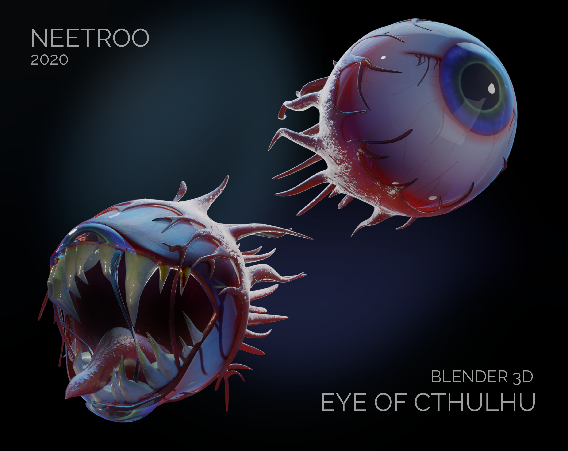 A Model I Made Of The Eye Of Cthulhu From Terraria Rendered In Eevee Terrarium Terraria Memes Cthulhu