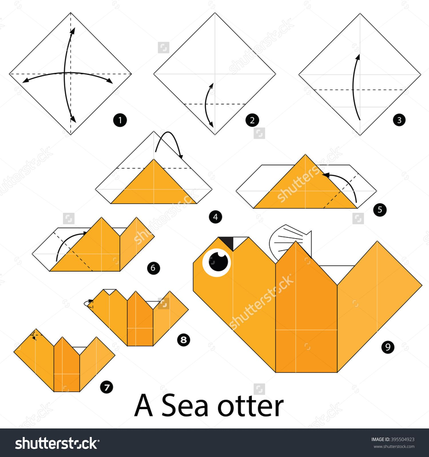 Step by step instructions how to make origami a sea otter stock step by step instructions how to make origami a sea otter stock vektorkp 395504923 jeuxipadfo Choice Image