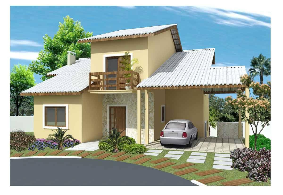 Fachada de casa moderna fachada de casa pequena e for Fachadas de casas de 2 pisos pequenas