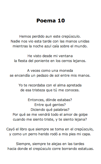 """Pablo Neruda. """"Poema 10"""". Veinte Poemas de Amor y una Canción Desesperada."""