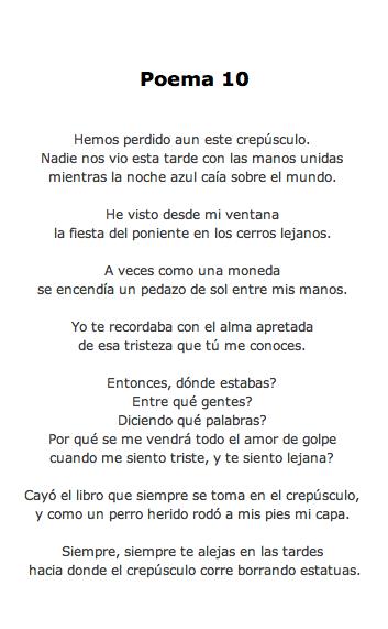 Pablo Neruda Poema 10 Veinte Poemas De Amor Y Una Cancion