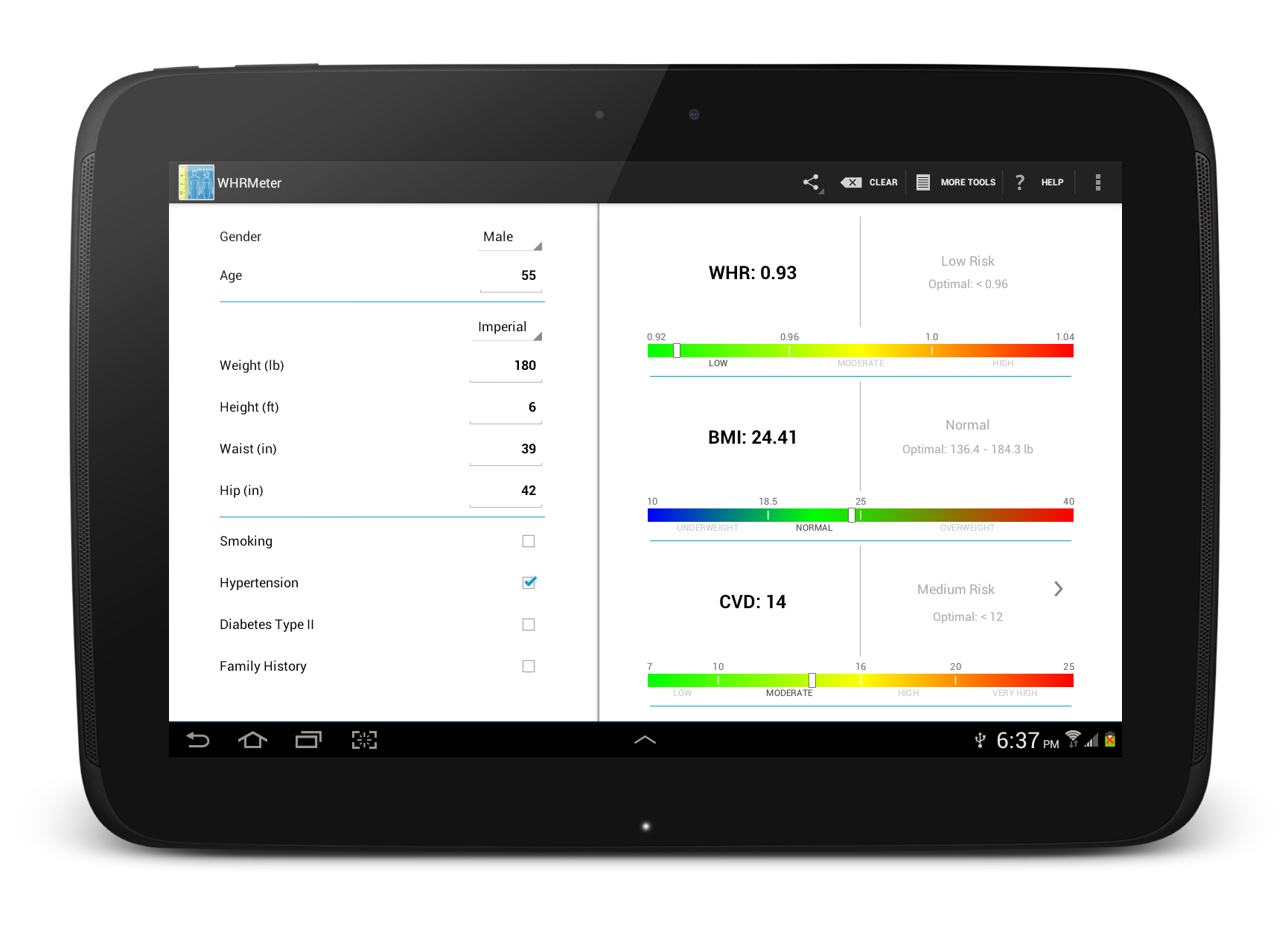 WHRMeter new Android app that calculates Waist to