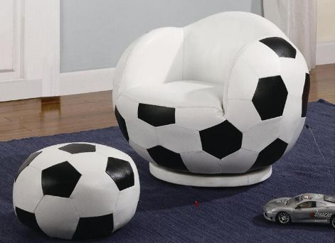 Bean Bag Chair For Children Or Kids Soccer Ball Sports Themed Bean Bag Chair And Ottoman Set Soccer Room Soccer Ball