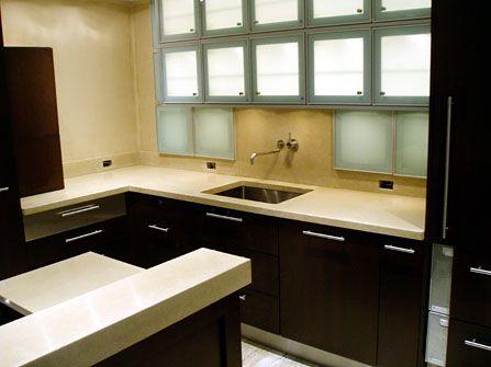 Light Tan Concrete Countertop With Darker Cabinets Dream