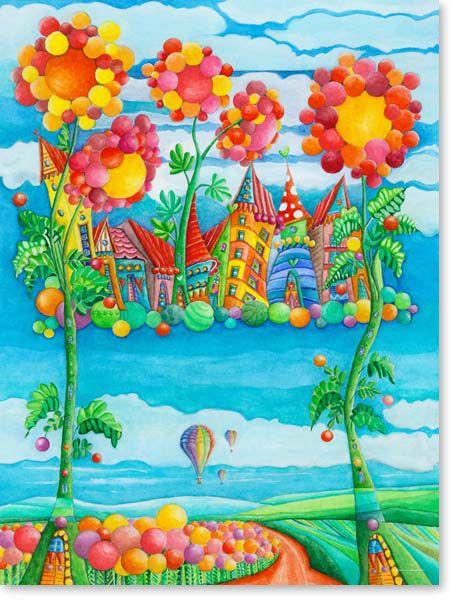 bilder kinderzimmer auf leinwand gedruckt f r jungen und m dchen motiv himmel stadt ballon. Black Bedroom Furniture Sets. Home Design Ideas