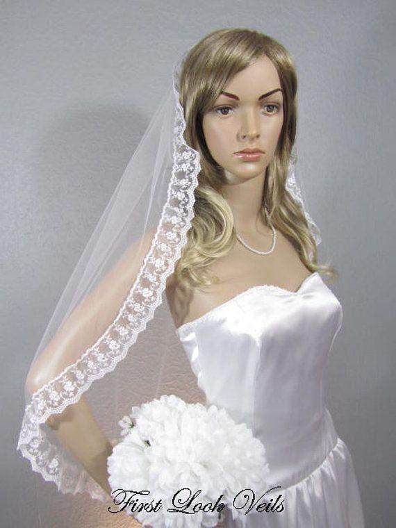 Bridal Waist Veil White Wedding Vail Lace And Crystal Vale Etsy Wedding Bridal Veils Long Veil Wedding Vail