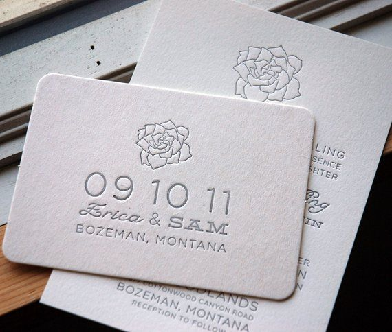 Letterpress Printed Save The Date Coaster Postcards Eco Friendly