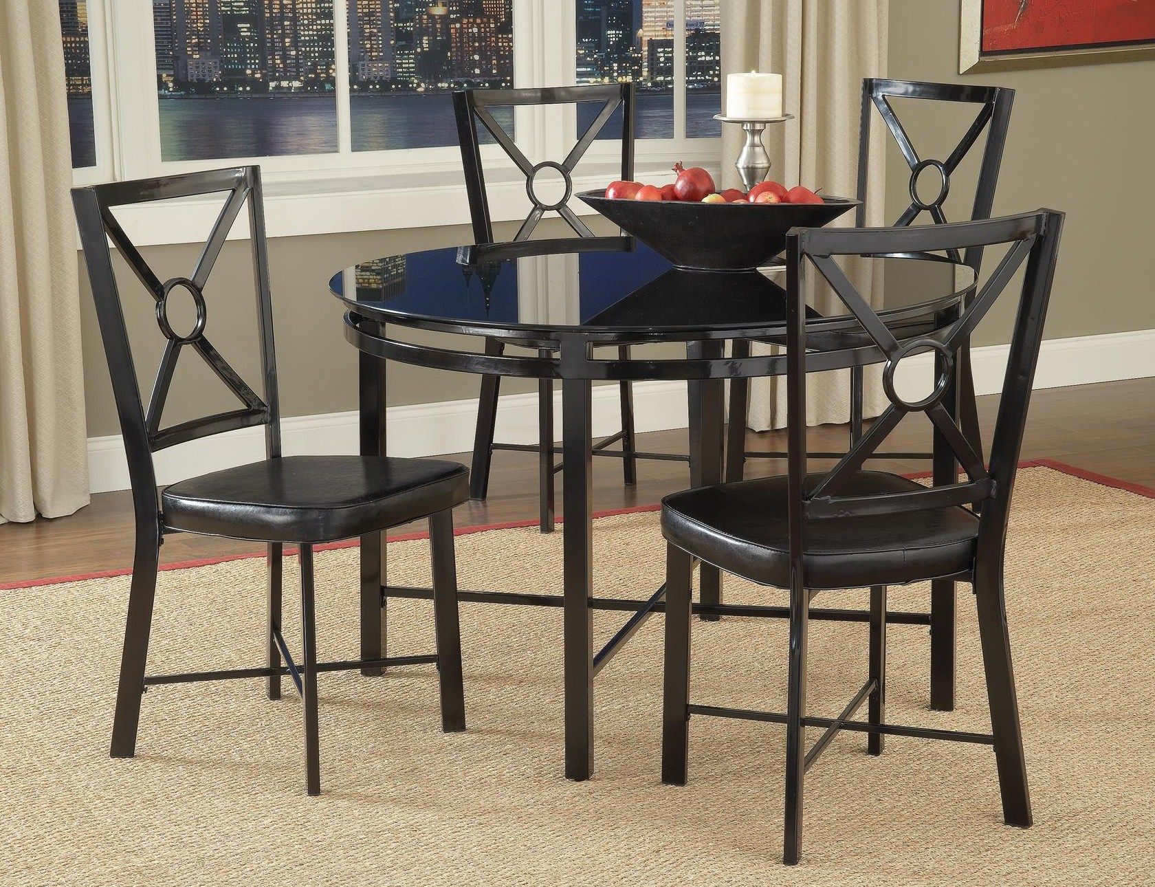 Diamond Black 5 Piece Dinette Table And 4 Chairs With Gl Top Crossbraced Metal Frames 359 00 42 Dia X 30 H Chair 17