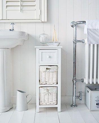 Bar Harbor White Storage Furniture Narrow Bathroom Cabinet