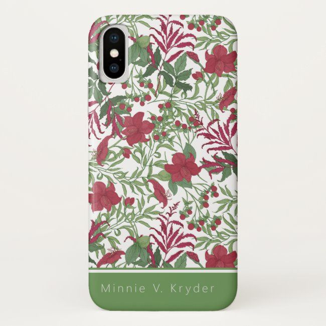 Crimson and Sage Floral Personalized iPhone case #personalize #arty #zazzlemade #floral #crimson#botanical #gifts #gardenstyle #flowers #vintage #floral