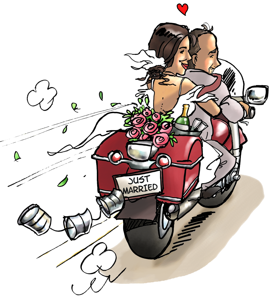 Moto mariage invitation faire part caricature hochzeit - Dessin de motard ...