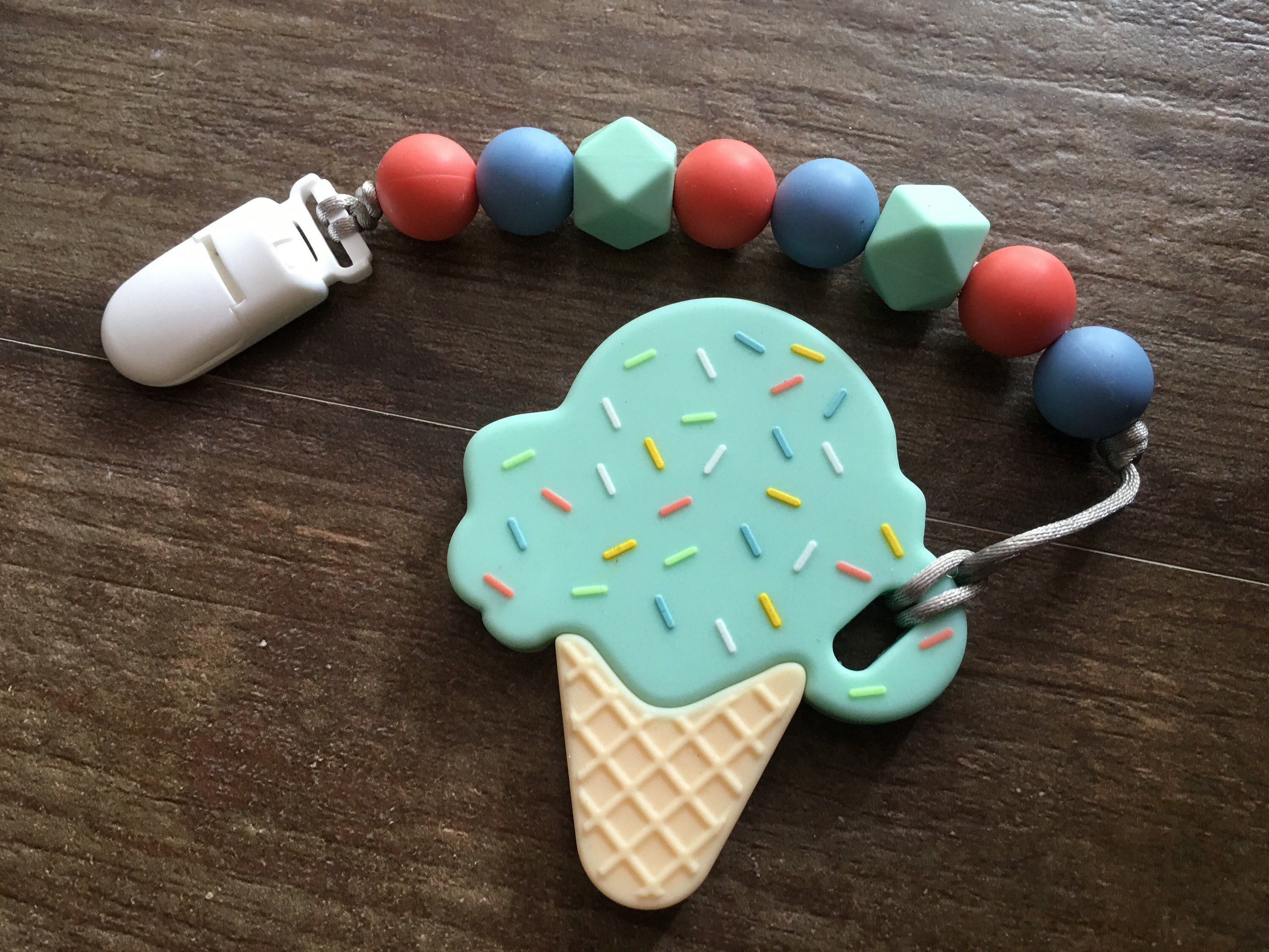 Ice-cream Baby Silicone Teether Nursing Teething Toy Pacifeir Chain For Toddler