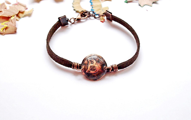 Best friends bracelets Customized copper bracelets Initial bracelets