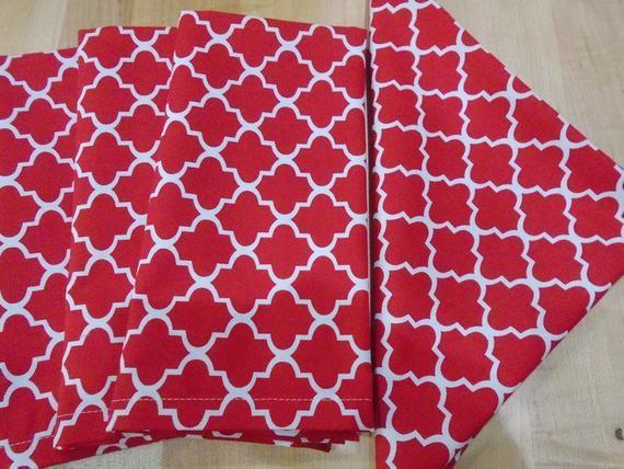 Large Cloth Napkins, Cloth Napkins, Dinner Napkins, Everyday Napkins,  sets of 4,  Red and White til #clothnapkins