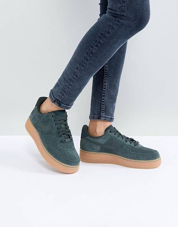 da3713cd393 Nike Air Force 1  07 Trainers In Outdoor Green Suede With Gum Sole ...