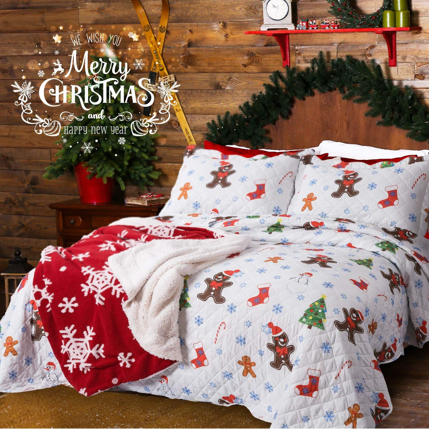 Bedsure printed quilt coverlet set bedspread twin size