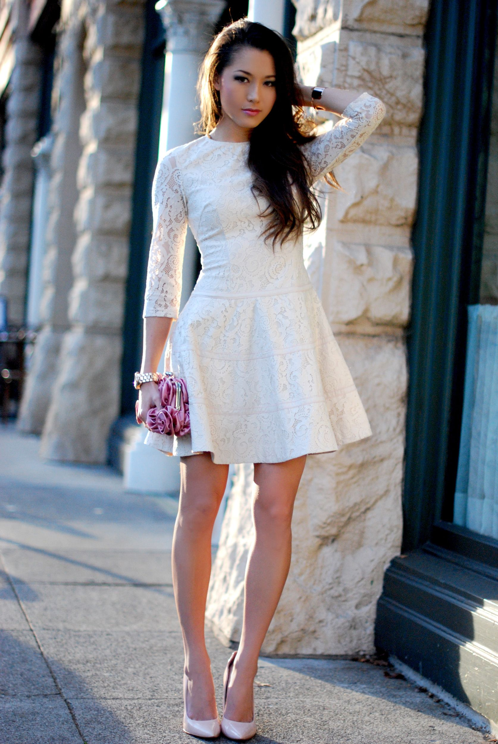 57567101e7dc2 Jessica from Hapa Time rocking our Lace 3 4 Sleeve Fit   Flare Dress!  vday   outfitinspiration