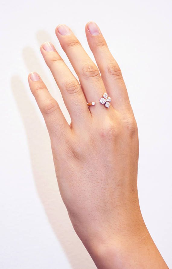 Ened Ring   18k U Shape Ring U Ring Jewelry Open Ended Ring Flower Gold Ring