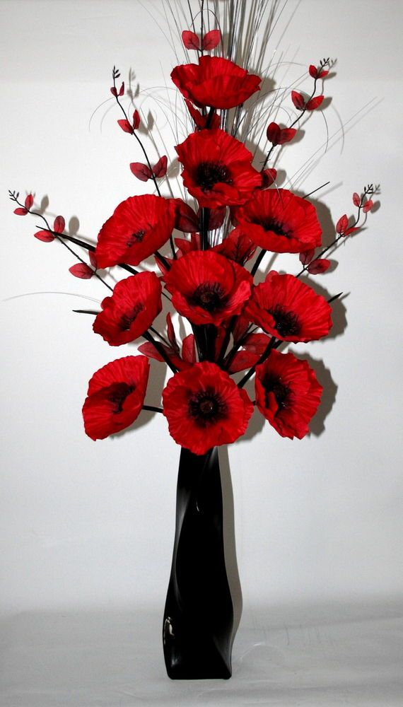 Artificial silk flowers red poppy flower arrangement in black vase artificial silk flowers red poppy flower arrangement in black vase 100cms high mightylinksfo