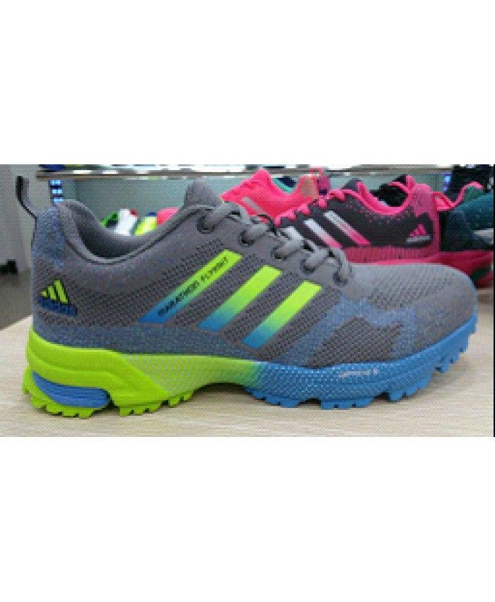 6dba21da686b 2015 Men s Adidas Marathon Flyknit Running Shoes Grey Blue Fluorescent Green  Sale